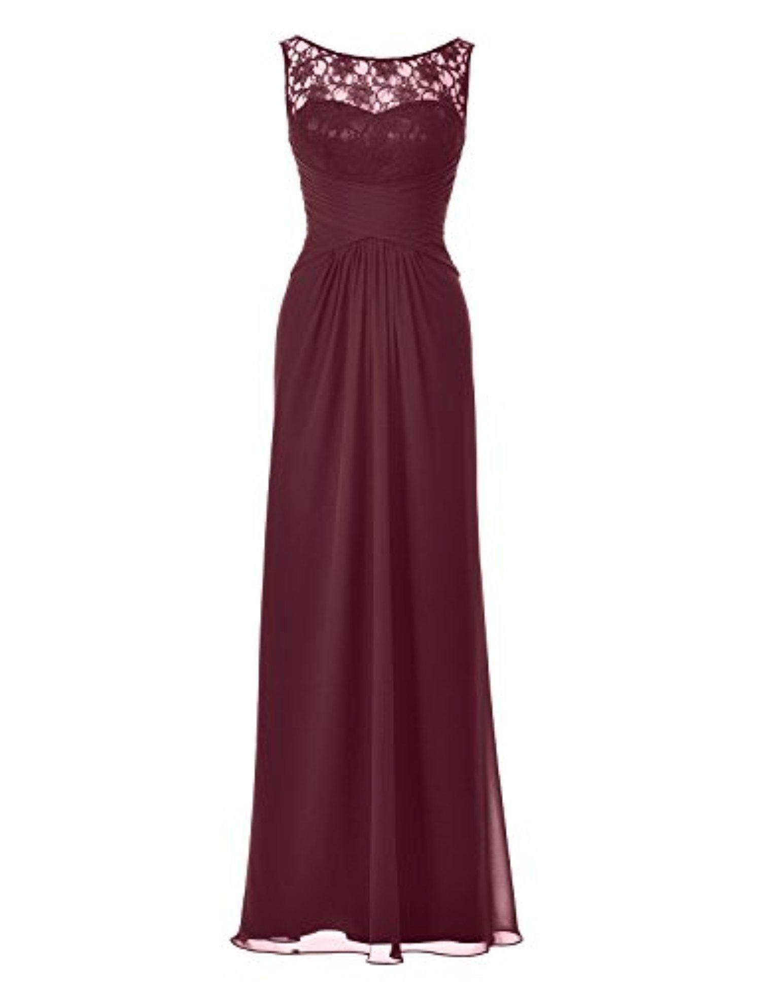 Remedios Lace Chiffon Evening Dress Bridal Party Long Sleeveless Bridesmaid Gown,Burgundy,US12 - Brought to you by Avarsha.com