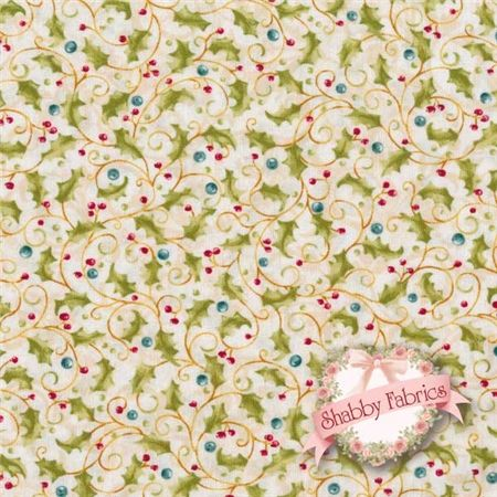 """Jingle All The Way 4526-07 By Nancy Halvorsen For Benartex: Jingle All The Way is a collection by Nancy Halvorsen for Benartex.  100% cotton.  43/44"""" wide.  This fabric features trailing green leaf on a cream background."""