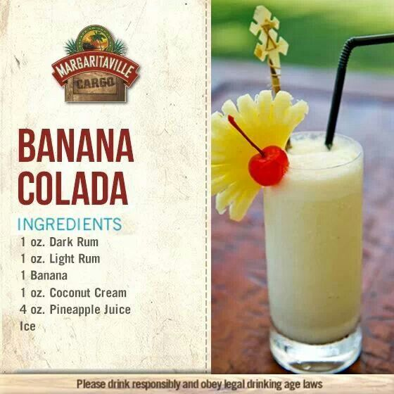 Alcholic Drinks, Frozen Drinks, Banana Colada