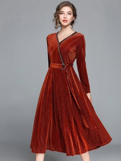 19152d03c9 Dark Brown Velvet V-neck D-ring Belt Long Sleeve Midi Dress