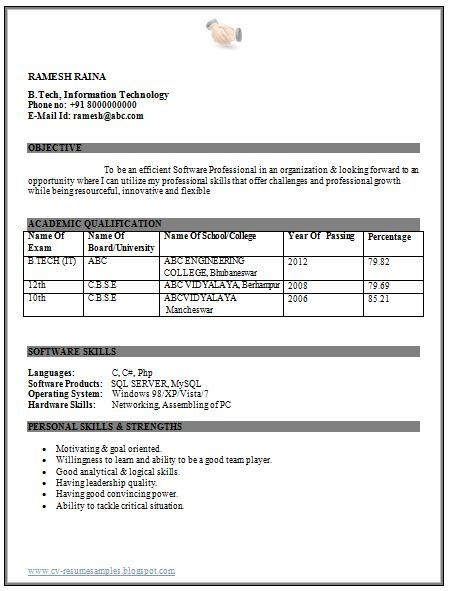 Professional Curriculum Vitae / Resume Template for All Job Seekers