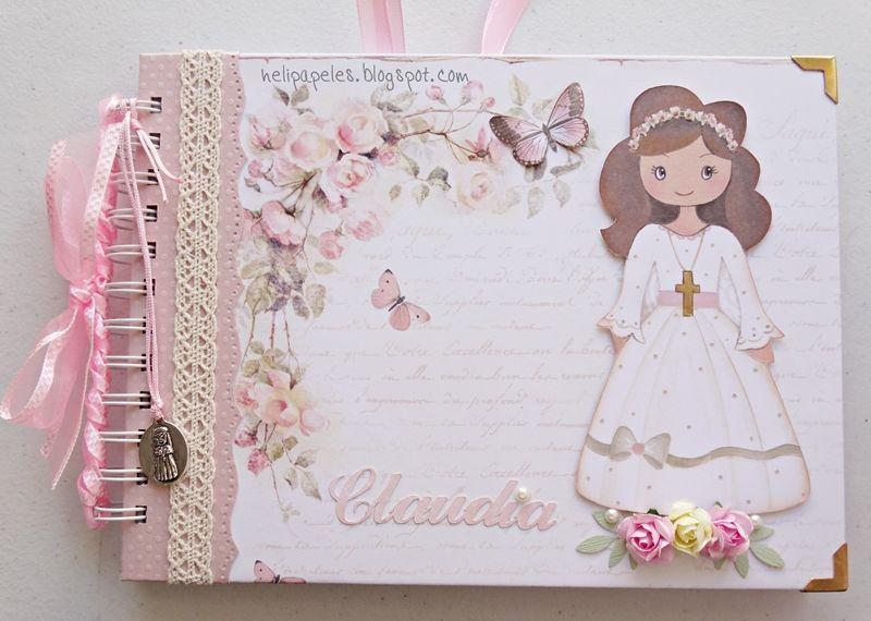 Libro de firmas para comuni n de ni a hola me encanta compartir un libro de firmas para ni a - Decorar album de fotos por dentro ...