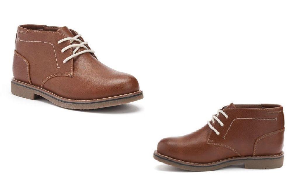 f08b5dd3667 SONOMA Boys Chukka Boots Cognac Lace up Kids size 1 NEW 19.99 https