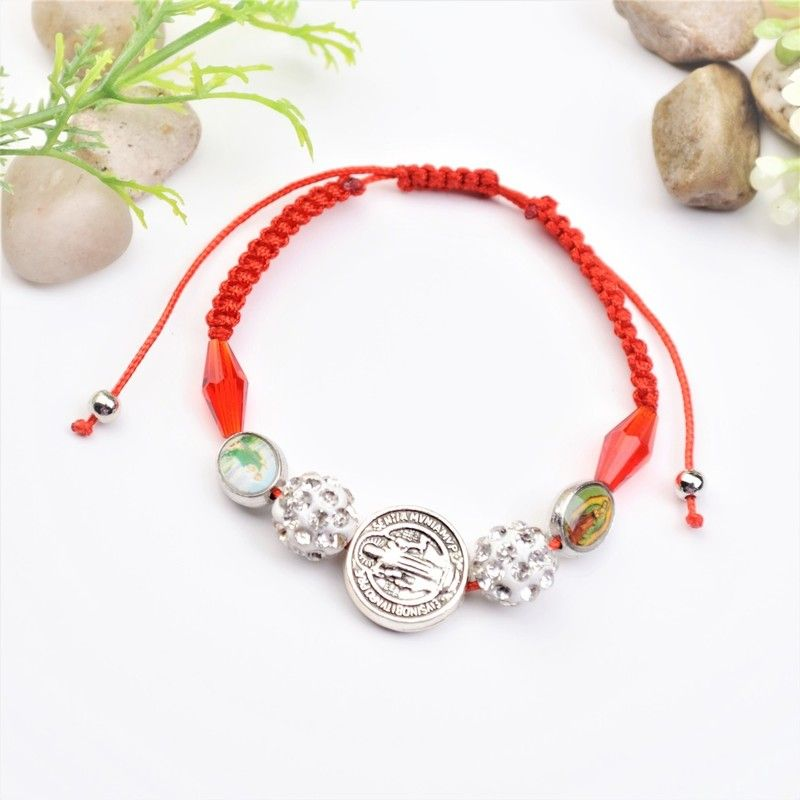 27f3b3022662c St. Benedict Red Thread Bracelet with Virgen Guadalupe and St. Jude ...