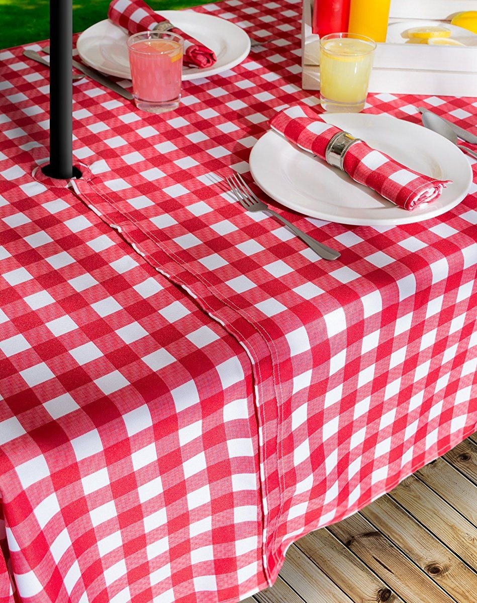 Outdoor Tablecloth Spill Proof And Waterproof With Zipper Umbrella Hole Host Backyard Parties Bbqs Family