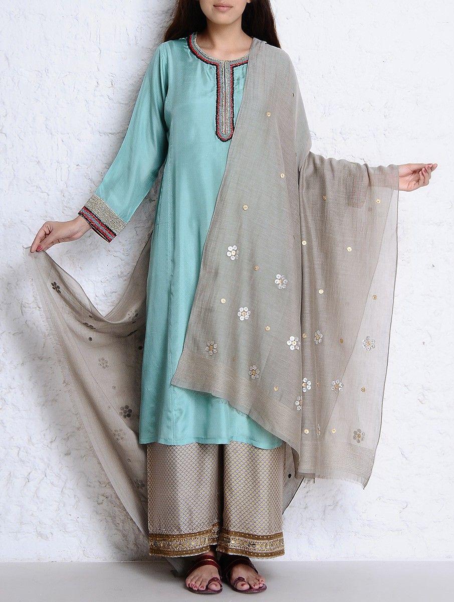 Ihram Kids For Sale Dubai: Grey-Golden-Silver Zari Stitch Detailed & Embellished