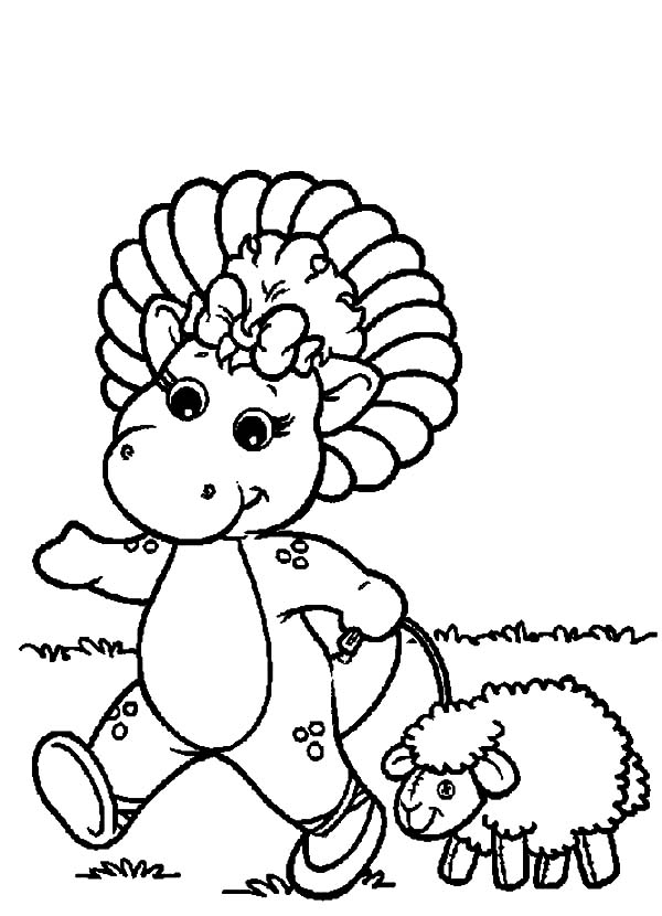 Barney Friend Baby Bop Walking With A Sheep Coloring Pages Best Place To Color In 2020 Coloring Pages Barney Friends Dandelion Pictures