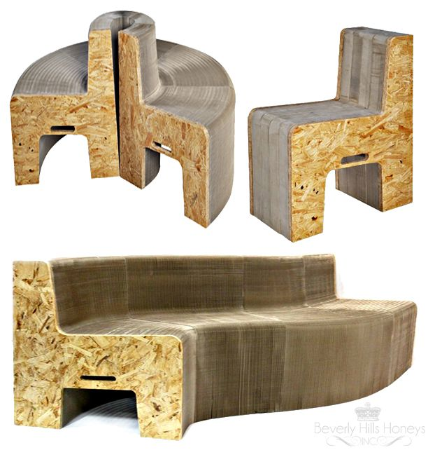 #FlexibleLove #furniture incorporates an 'accordion-like, honeycomb' structure to create durable furniture #design produced from widely-available #recycled materials. Made from recycled paper and recycled wood waste, these amazing pieces of furniture are  produced using pre-existing manufacturing processes in order to reduce their overall impact on the environment.
