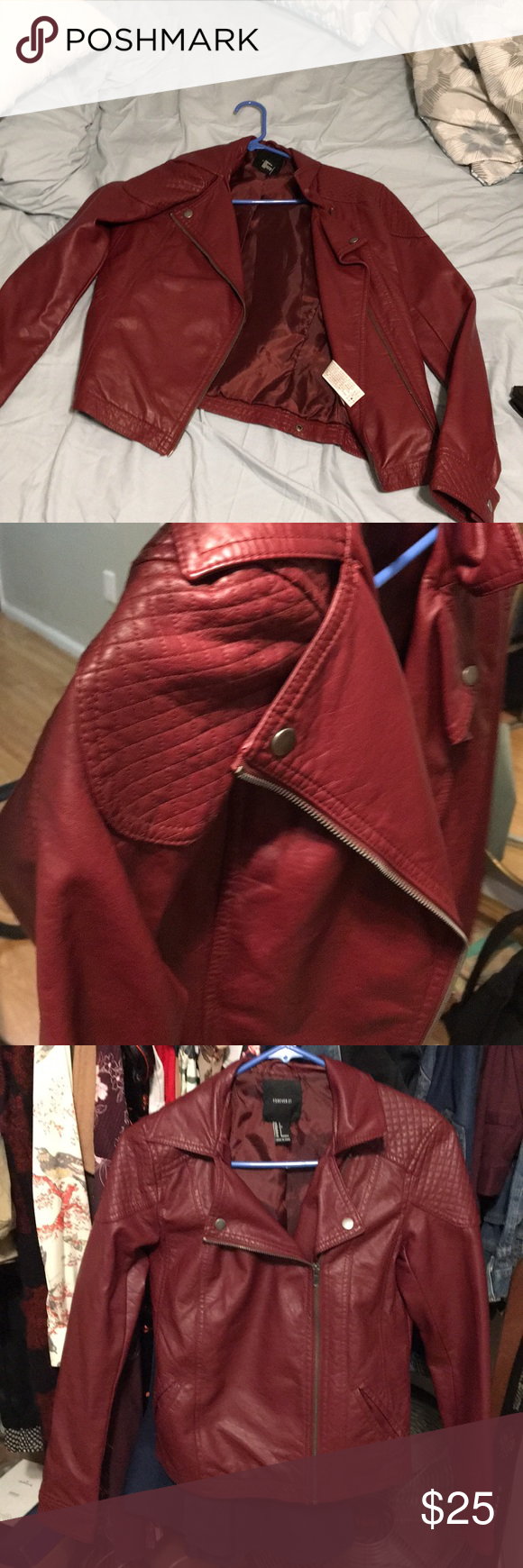 Red fake leather jacket Red leather jacket. Very cute