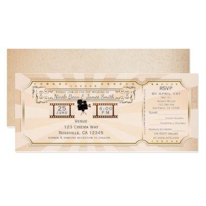 #vintage - #Vintage Cinema Wedding Ticket Invitation & rsvp