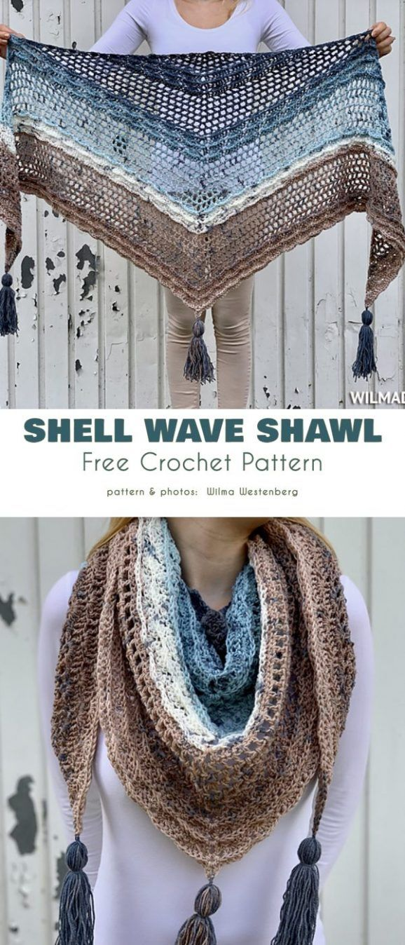 Shell Motif Shawl Free Crochet Patterns