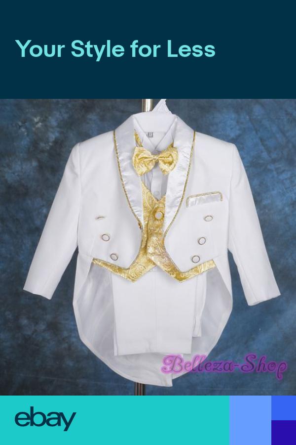 Dressy Daisy Baby Boys Classic Tuxedo Suit 5 Pcs Set Jacquard Formal Suits Wedding Outfit 015
