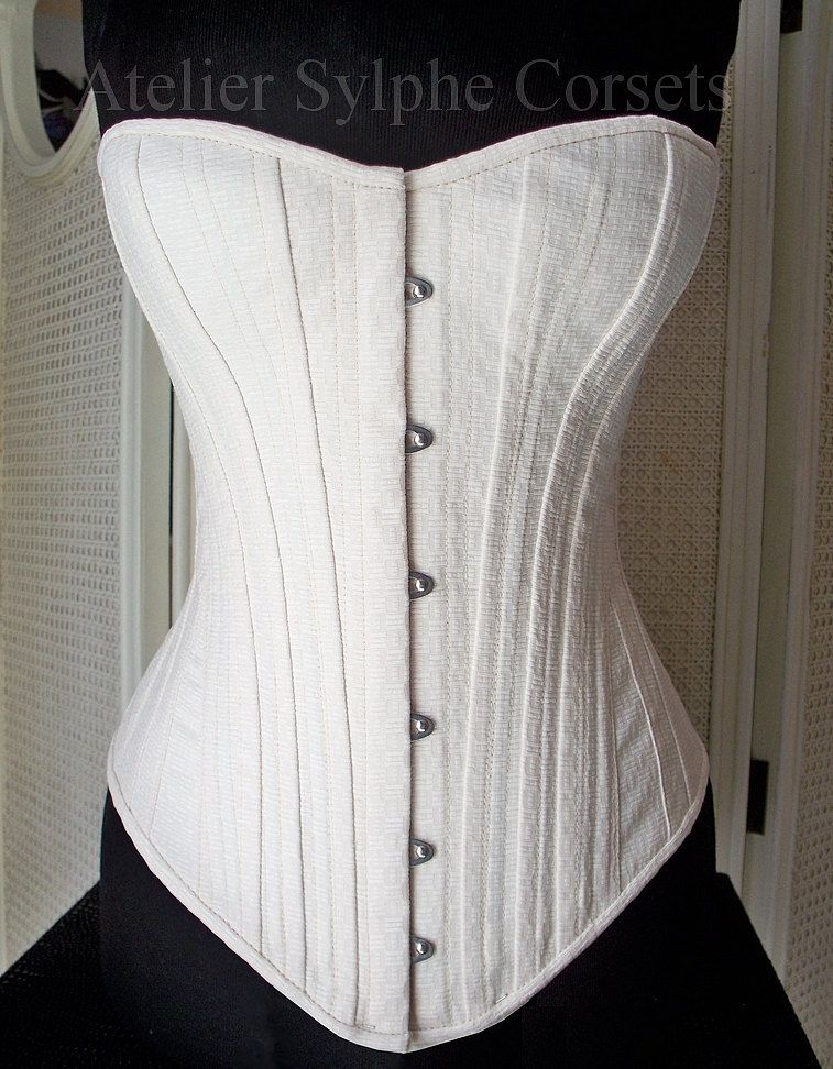 Overbust corset from antique corset pattern. $421.00, via Etsy.