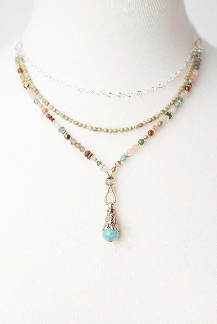 Photo of Gentle Breeze 33-35″ Long Gemstone Layer Pendant Necklace