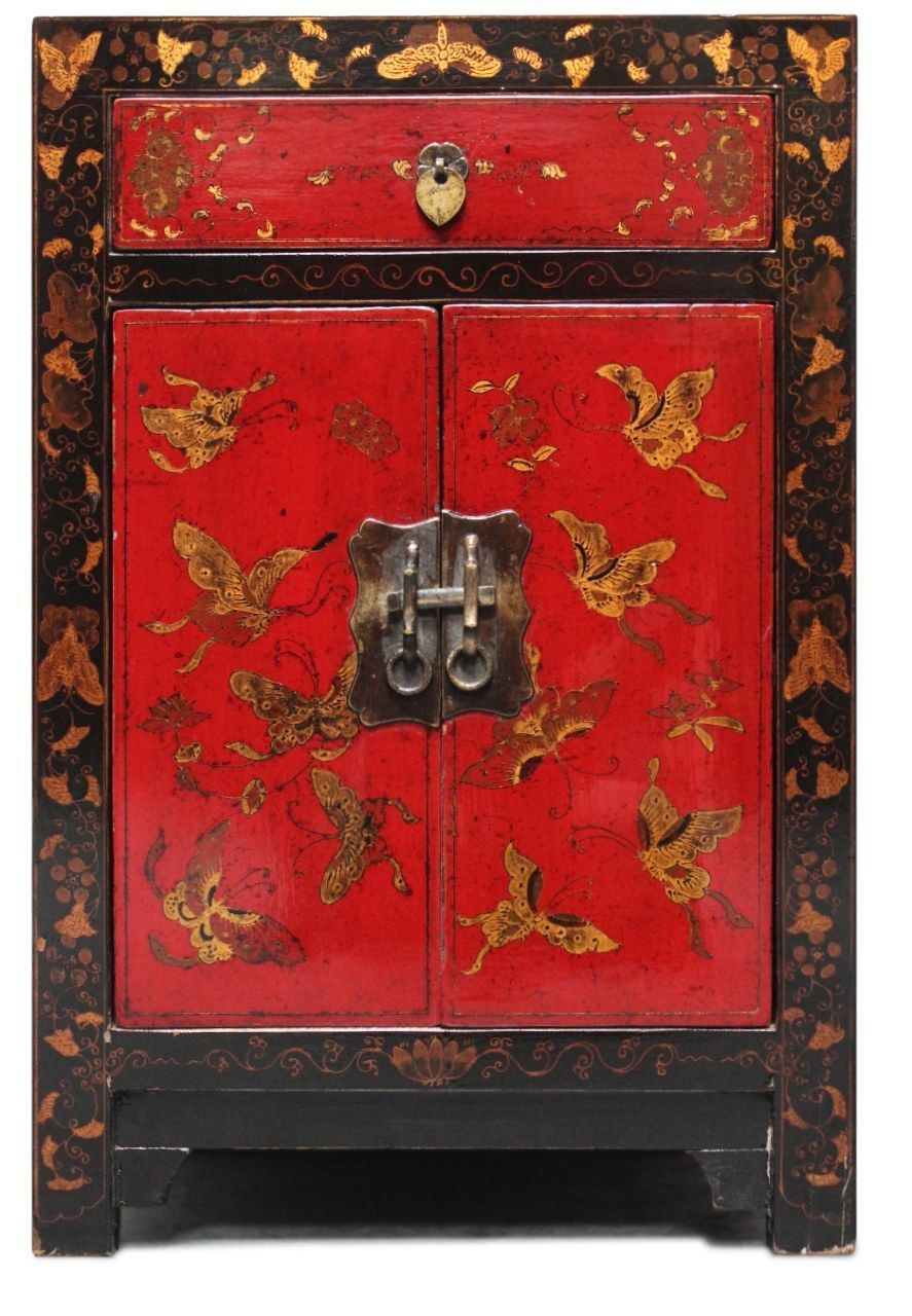 Vintage Dresser Red Black Asian Chinese Night Table Wood