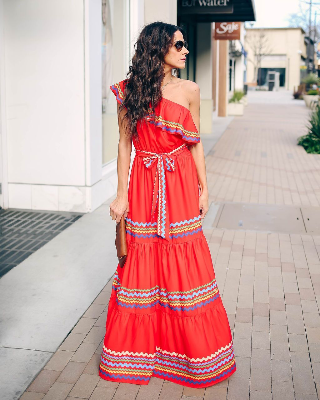 06ef5407273e Waves Upon The Shore One Shoulder Maxi Dress - Red/Multi - FINAL SALE –