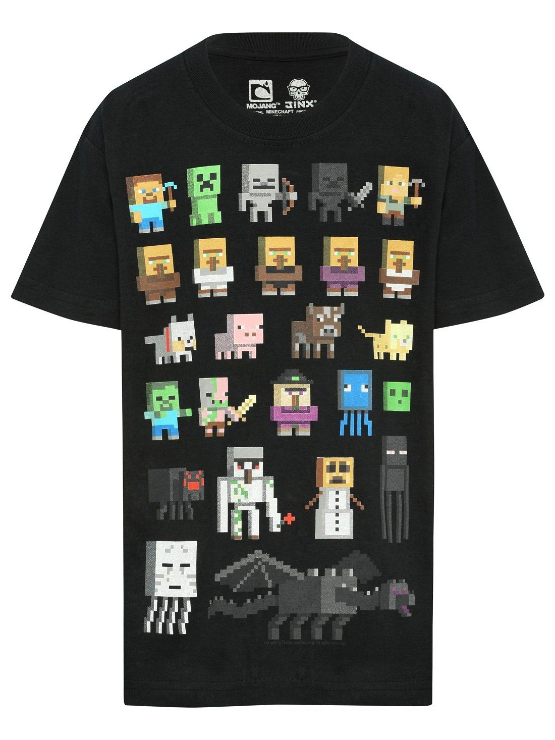 Minecraft Survival Characters Print Short Sleeve Round Neck Boys T ...