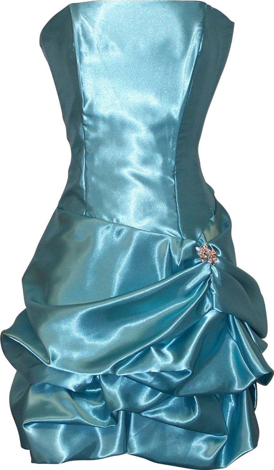 Strapless Satin Bubble Dress Prom Formal Holiday Party Cocktail Gown ...