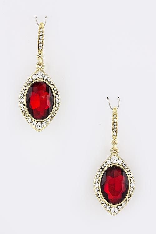 Vines of Jewels - Gold-tone Oval Red Jewel with Crystal Earrings, $12.00 (http://www.vinesofjewels.com/gold-tone-oval-red-jewel-with-crystal-earrings/)