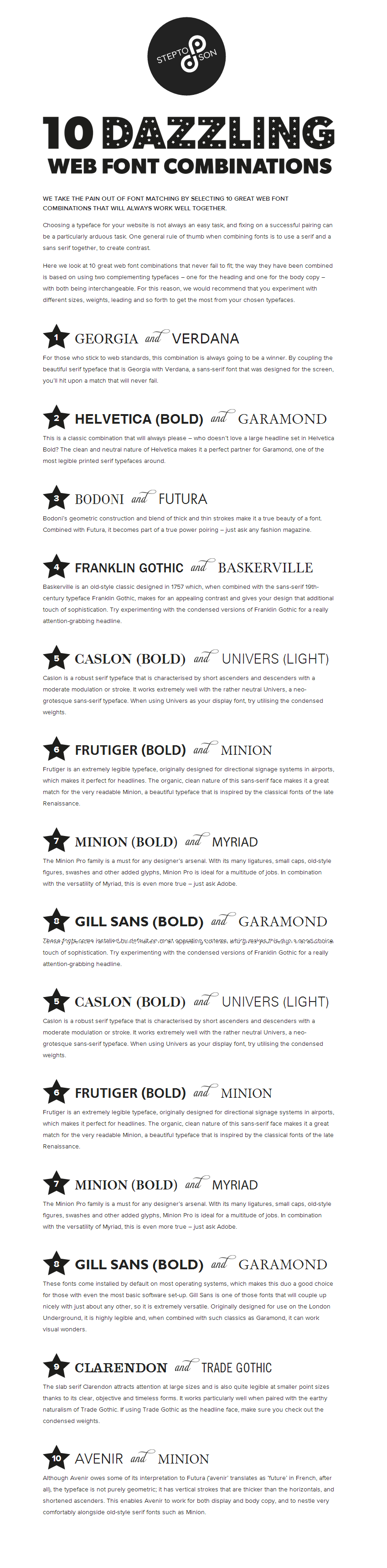 10 great web font combinations....my fave is the number 1 combo ...
