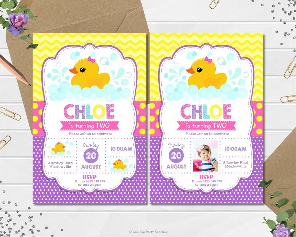 Rubber duck invitation invite 1st first birthday party girls any age ...