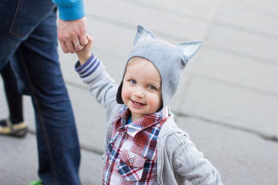 Felt wolf hat   wolf hat for kids  felt hat  felted by DressInFelt