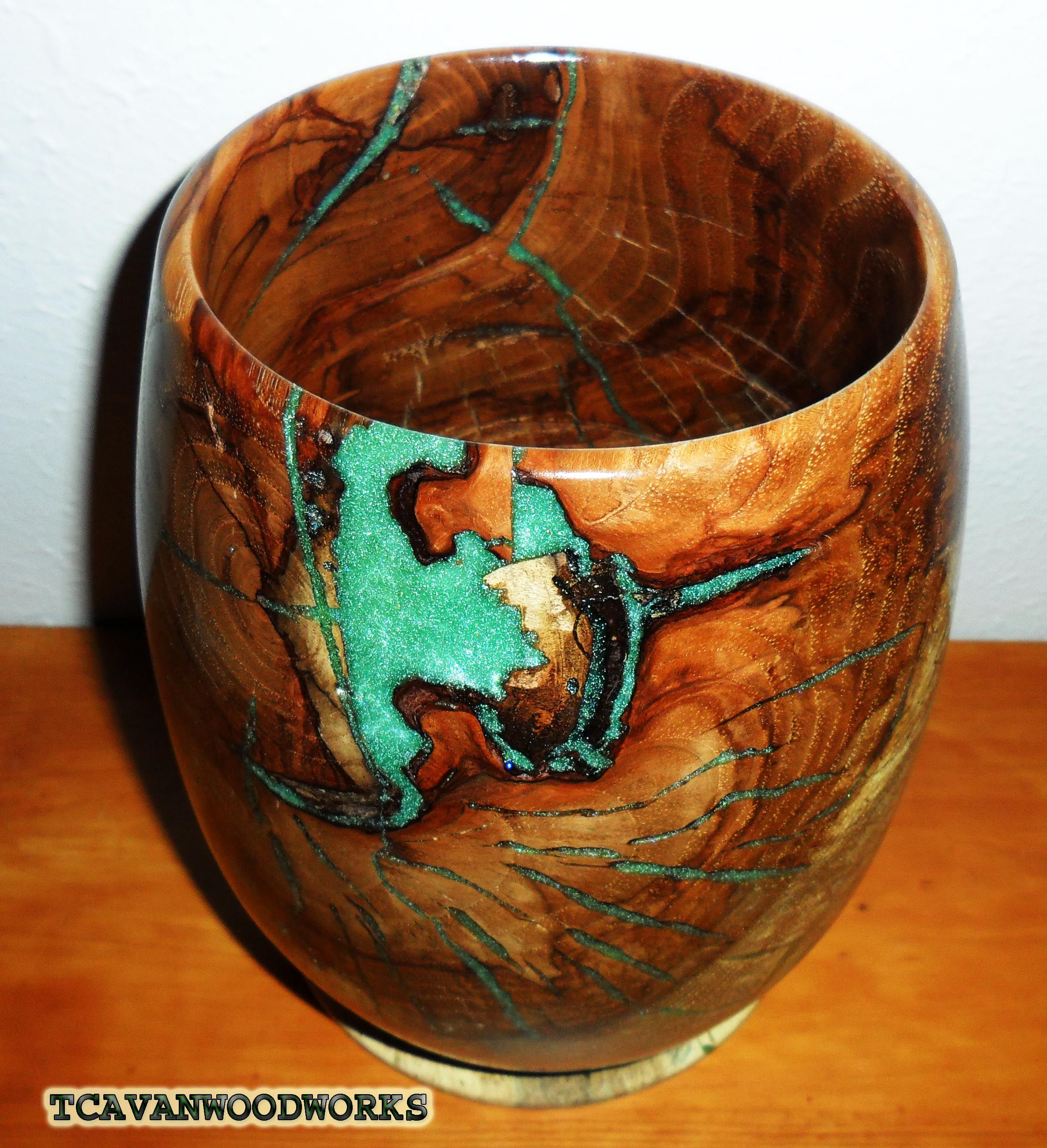 Wood Vessel Inlaid With Jade Green Resin Woodvessel