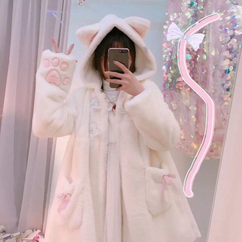 4d3095f0b2 Cute Lolita Cat Coat Autumn Winter Sweet Girl Warm Velvet Hoodies Jacket  Coat  fashion  clothing  shoes  accessories  womensclothing   coatsjacketsvests ...