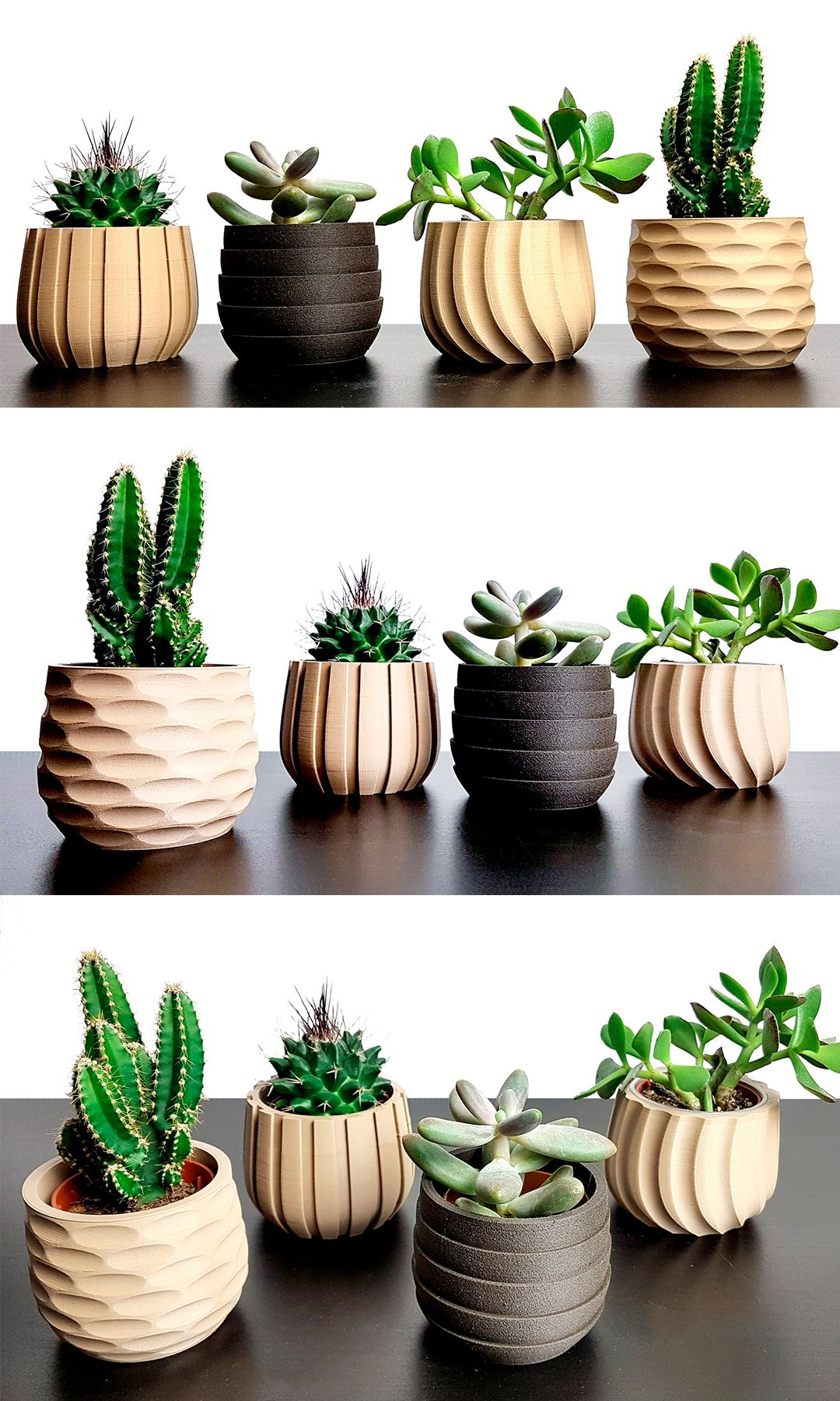 SET Succulent Planter , 4 Planter Pots for succulent and cactus, Indoor Wood Planter set