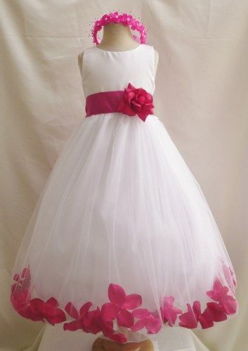 96e64d4ca8 Flower Girl Dress IVORY Fuchsia PETAL Wedding Children Easter Bridesmaid  Communion Fuchsia Burgundy Brown Caf Blue Royal Blue Sky Black