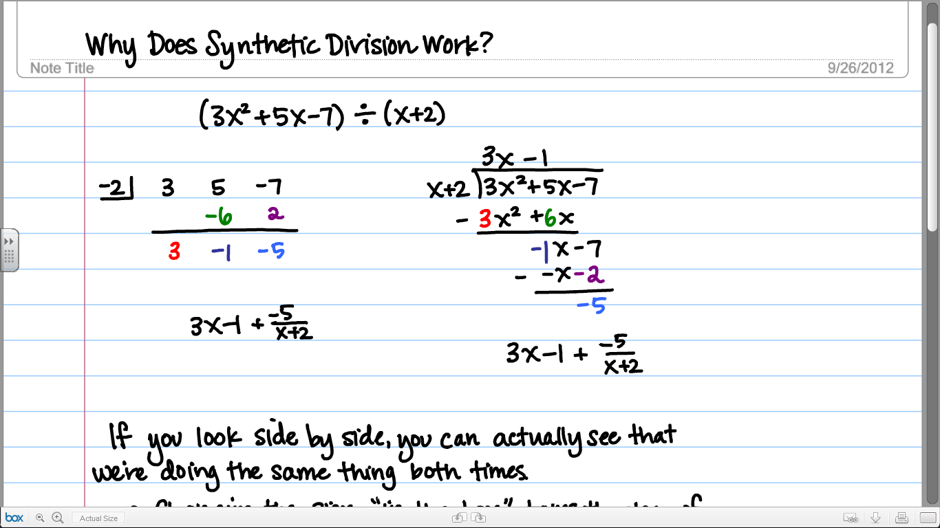 Why Does Synthetic Division Work Math Synthetic