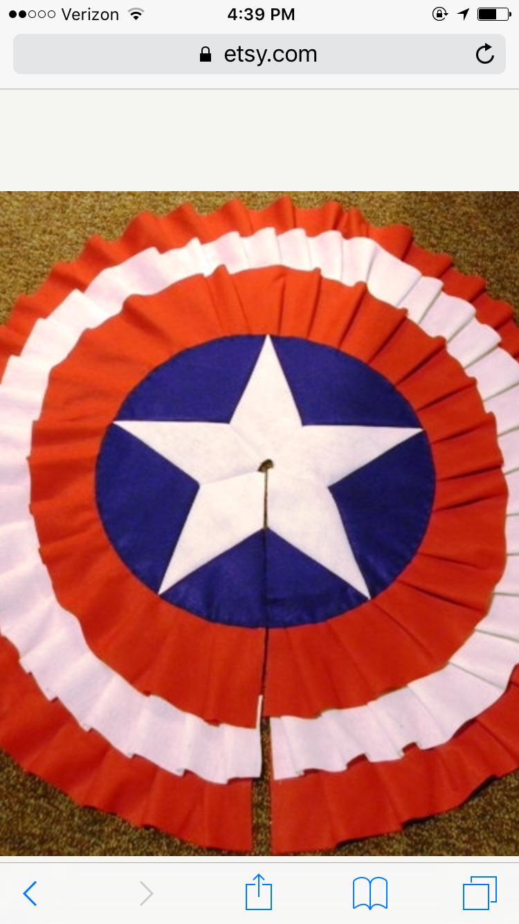 Easy Way To Make Captain America Shield Christmas Time Tree Skirts Christmas Tree Skirt