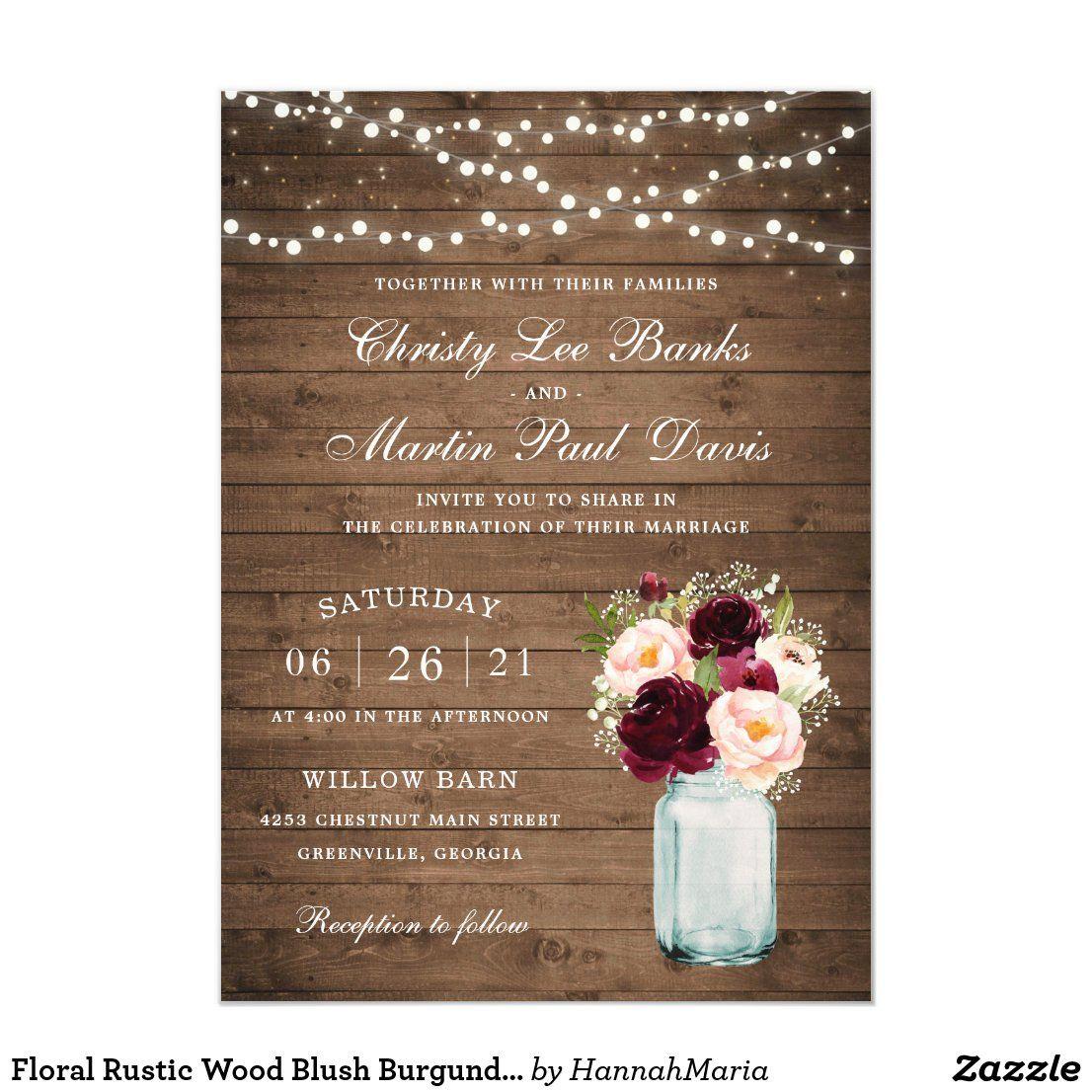 Floral Rustic Wood Blush Burgundy Mason Jar Invitation