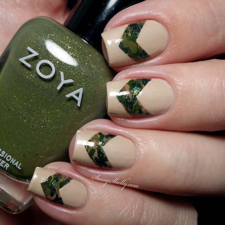 Camouflage chevron nail art - Veterans Day military manicure   Sassy Shelly