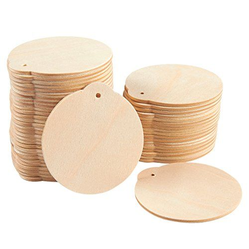 48Pack Wood Discs Wooden Christmas Ornaments Wood Circles for DIY - wood christmas decorations