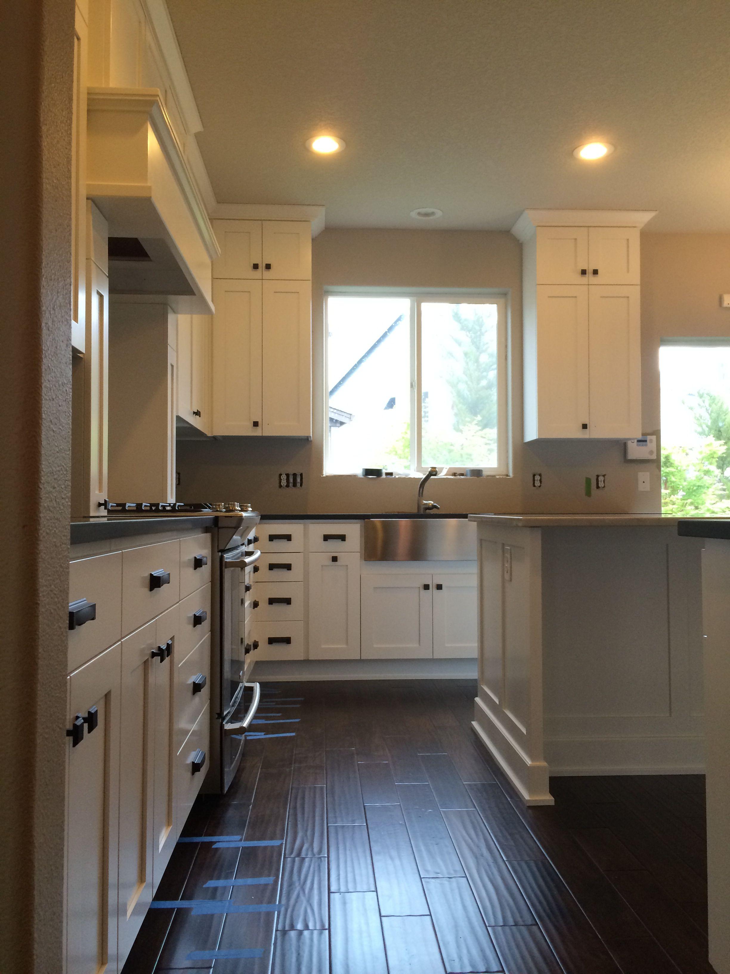 Kitchen Remodel White Shaker Cabinets, Absolute Black Honed Granite, Bianco