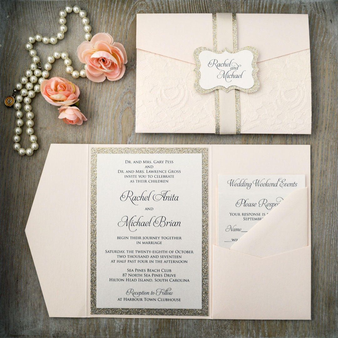Rachel Blush Wedding Invitation With Ivory Lace And Gold Glitter Trifold Pocket