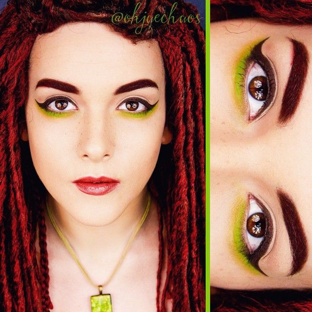 """Simulated Freckles. Playing around with my @thekatvond Shade and Light contour palette. And rocking my Warrior Princess deadlock wig from @geishawigs. The…"""