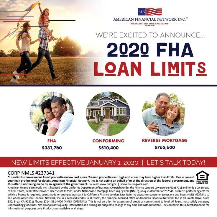 new fha loan limits 2020