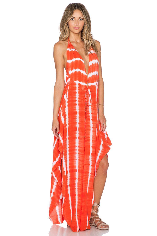 1c096a40b Indah Imani Halter Maxi Dress in Garis Orange | REVOLVE | Summer ...