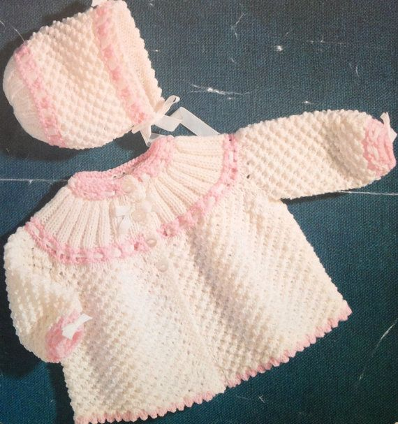 vintage baby knitting pattern for dk double knit di ECBcrafts