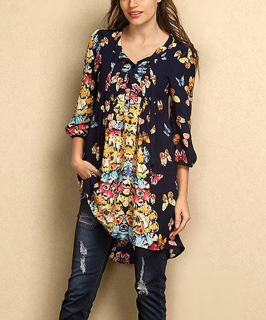 another great find on #zulily! navy butterfly chiffon hi-low tunic