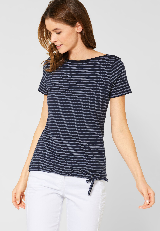 Shirt mit Karomuster in Deep Blue CECIL