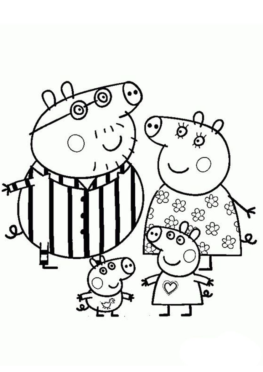 Pig Family in Pajamas (With images) | Peppa pig coloring pages ...