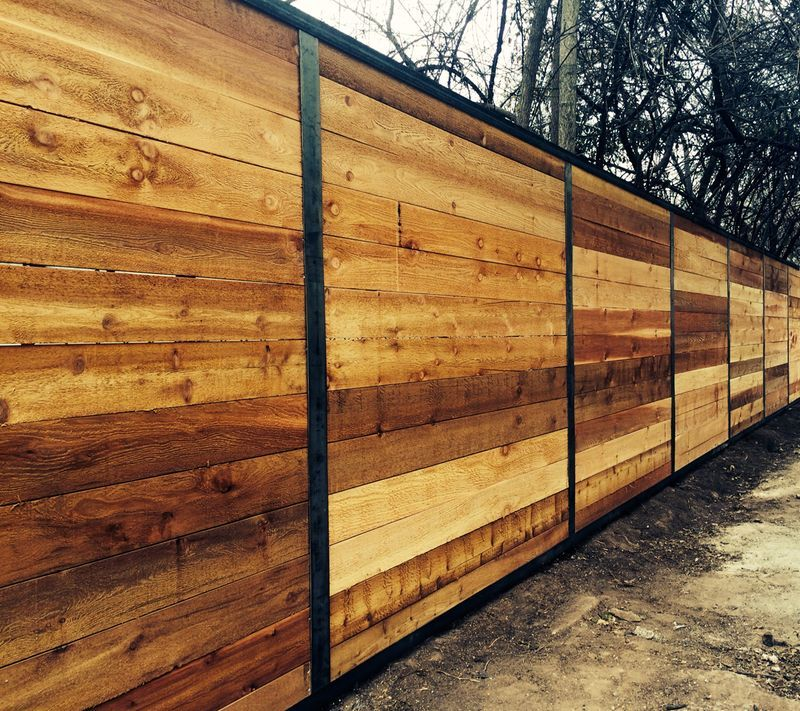 6 H Horizontal Cedar Privacy Fence W Steel Accents Wood Fence