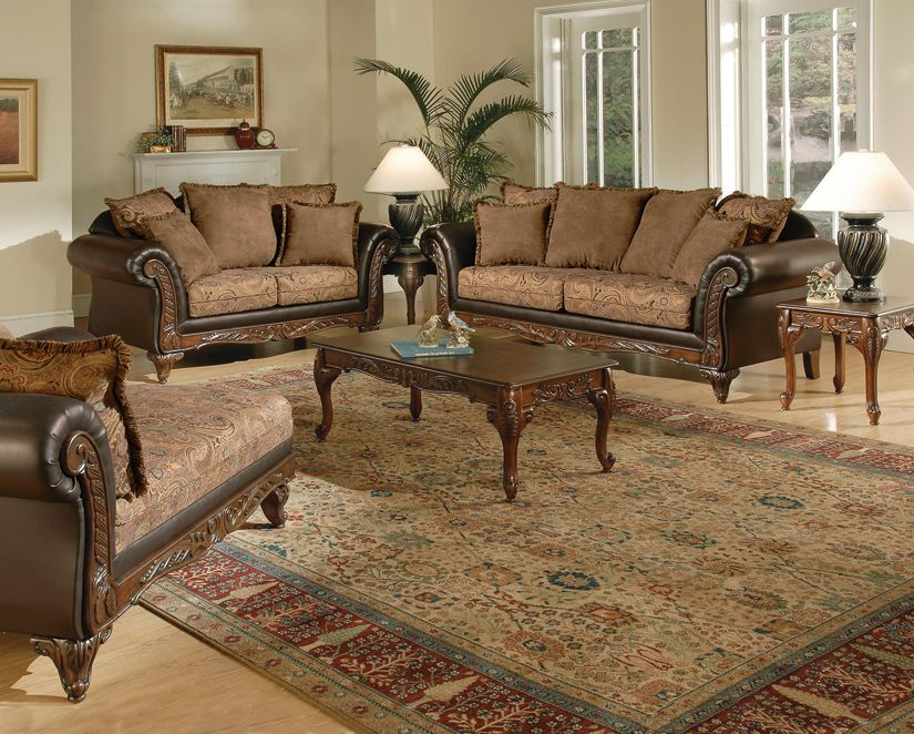 Victorian Style Living Room Set With Chaise Lounge. #home #furniture