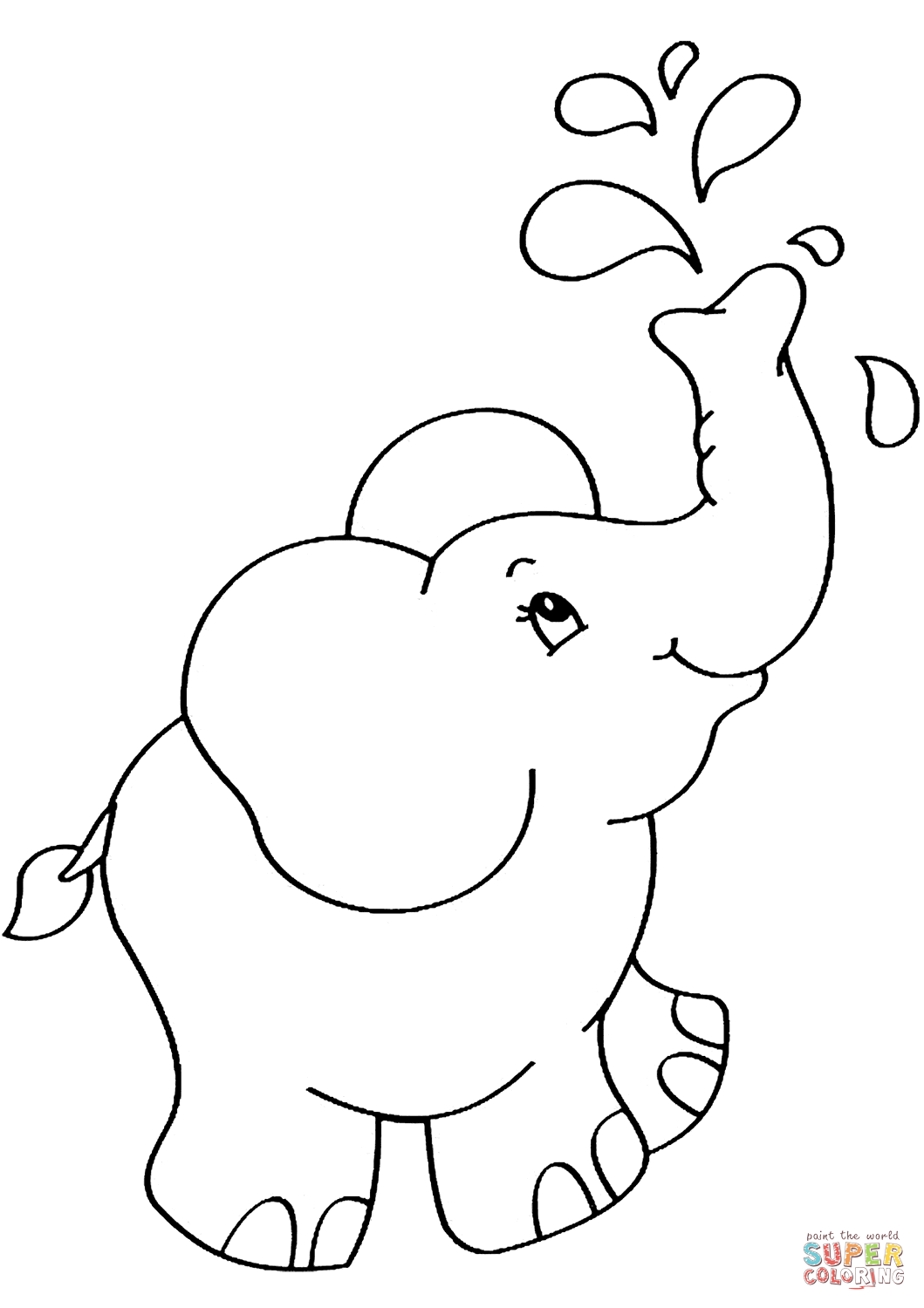 Cartoon Elephant  Super Coloring  Elephant coloring page