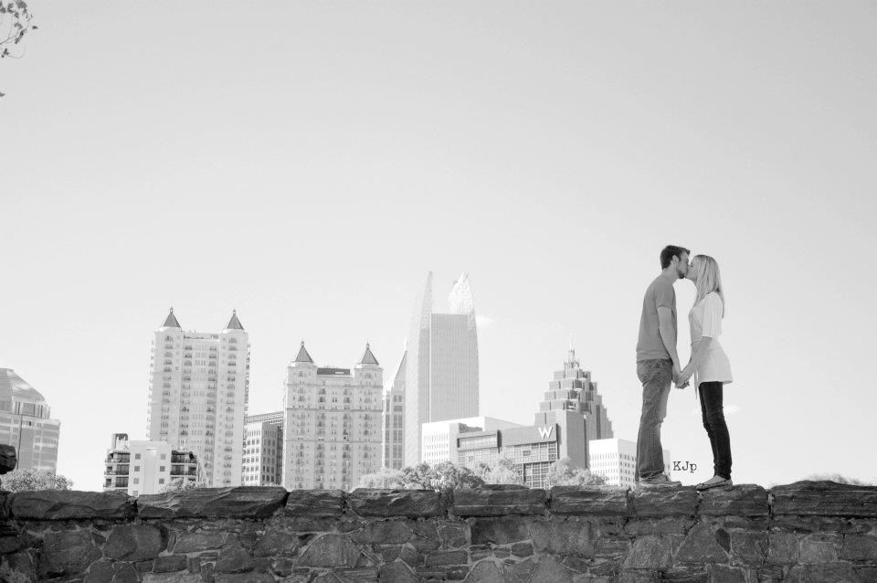 Jessi & Channing's Engagement Pic. Atlanta Skyline from Piedmont Park.  Kayla Johnson Photography