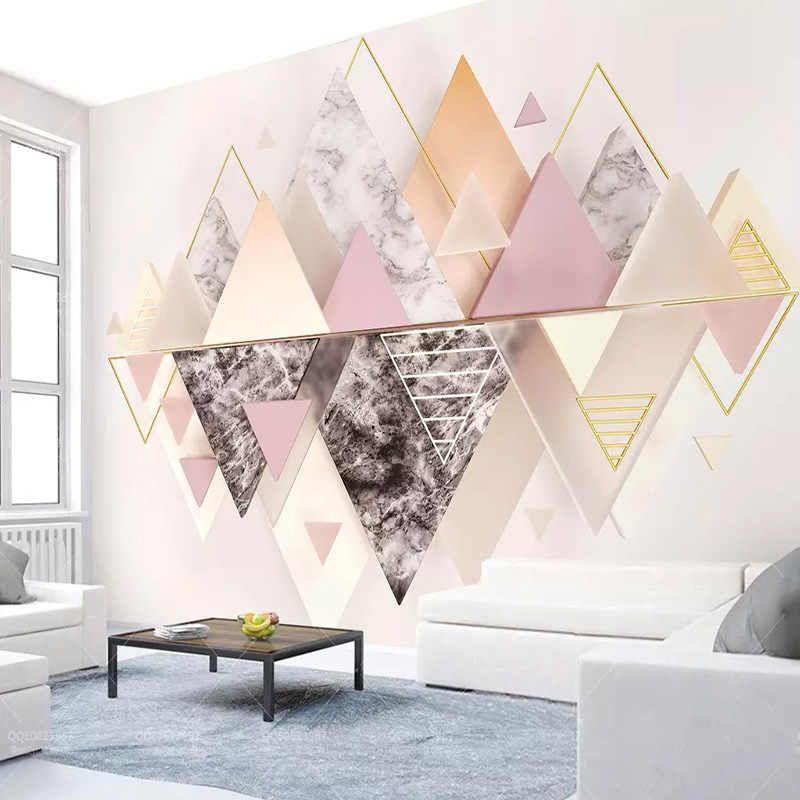 Custom Mural Wallpaper Modern 3d Geometric Triangle Abstract Art Wall Painting Living Room Bedding Room Background Wall Paper 3d Aliexpress Wallpaper Designs For Walls Wall Painting Living Room Bedroom Wall Paint