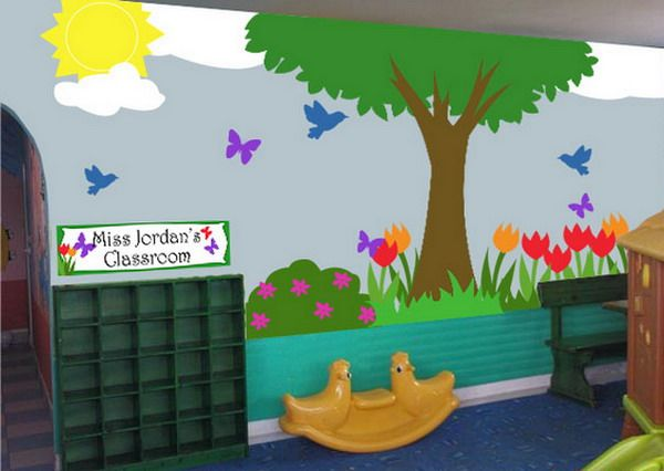 Cute classroom with kids school landscape murals painting for Classroom mural ideas